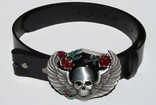 Winged Emo Skull Removable Belt Buckle & Solid Black Leather Belt Combo