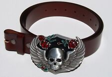 Winged Emo Skull Removable Belt Buckle & Solid Classic Brown Leather Belt Combo