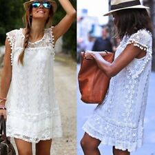 AU Womens Holiday Lace Mini Sundress Ladies Summer Beach Party Tops Dress Plus