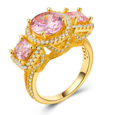 Elegant 18 K Gold Plated Round Cut Pink Sapphire Women Wedding Ring Size 6-10