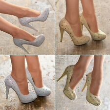 Ladies Sparkly Diamante High Heel Evening Shoes Platform Pumps Court Shoe size