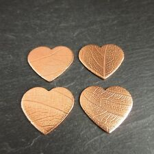 4 Copper Hearts with Leaf Vein Texture Choice of 3 Sizes Jewellery Making Crafts