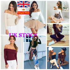 UK Womens Off Shoulder Knitted Sweater Jumper  Long Sleeve Slim Pullover Tops
