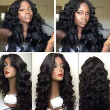 100% Remy Brazilian Human Hair 360 Lace Front Wig Free Part Full Lace Wig 1B F0#