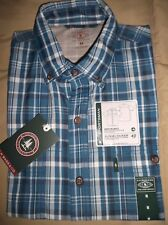 NEW G.H. BASS & Co. Sportsman Wicking Sun Block Blue Plaid Men's Shirt Sz  M, L