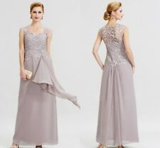 Lilac Floor Length Wedding Mother Of The Bride Dresses Scoop Neck Chiffon Lace