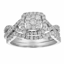 1 CT Diamond Wedding Engagement Ring Set 14K White Gold