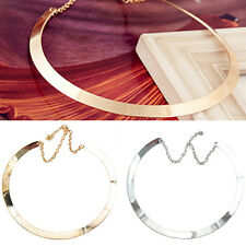 FX- Girl Lady Perfect Thin Mirrored Collar Necklace Choker Gold Silver Plated Ci