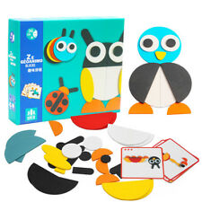 wooden toy wood puzzle magnetic jigsaw DIY game cartoon animal geometry pattern