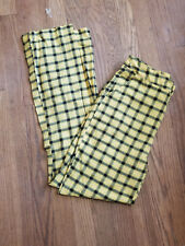 Shein Women's Plaid Pants Trousers Small Yellow Boot cut Cotton High Waist