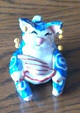 WhimsiClay Cat Amy Lacombe Blue and White Cat with Sailboat 1999 Signed