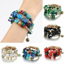 Leather Crystal Multilayer Crystal Bead Braided Women Bracelet Bangle Jewelry