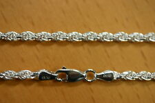 3.3mm Solid .925 Sterling Silver Diamond Cut Rope Chain Necklace Made in Italy