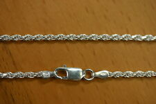 2.2mm Solid .925 Sterling Silver Diamond Cut Rope Chain Necklace Made in Italy