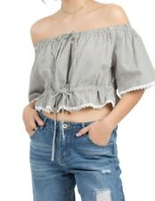 NEW Boho Chic Cropped Striped Crop Top - Navy Stripe by POL Clothing Size S-L