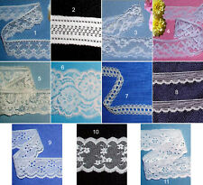 """Assorted Vintage Lace Trim Lots 1/2""""-6-1/2"""" Wide CLOSEOUT White Ivory Blue 81X"""