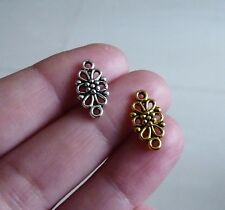 10/20 x Silver/Gold Plated Flower Charms for Bracelet Connector Pendant Findings