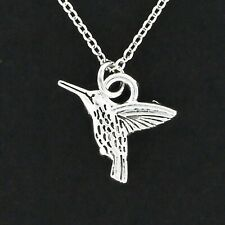 Hummingbird Necklace - Pewter Charm on Cable Chain Pet Animal Puppy NEW