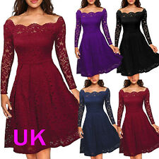 UK Vintage Women Lace Evening Cocktail Prom Party Bodycon Long Sleeve Maxi Dress