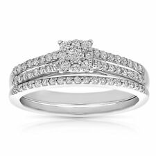 1/2 CT Diamond Cluster Wedding Engagement Ring Set 14K White Gold