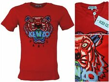 New Season Men's Kenzo Paris Red Tshirts Colorful Tiger Emboridered #NW