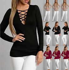 AU Fashion Womens Casual Tops Blouse Ladies Long Sleeve V Neck Lace UP T-Shirt