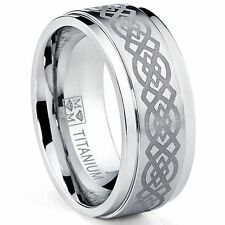 Men'S Genuine Solid Titanium Wedding Band Ring With Laser Etched Celtic Design
