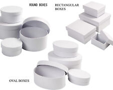 4 White Paper Mache Boxes Round Oval Rectangular Shape Boxes to Decorate Crafts
