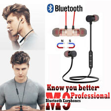 M9 Wireless Bluetooth Magnetic Headset Noise Reduction Stereo Earphone be LOT