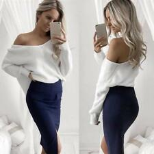 Sexy Women Knitted Pullover One Shoulder Loose Batwing Long Sleeves Slash V Neck