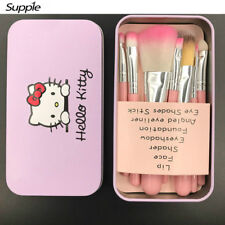 7pc/set Hello Kitty Cute Cartoon Pink Black Makeup Brush With KT Packaging Bag