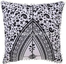 Indian Mandala Square Cushion Cover Black And White Cotton Throw Pillow Case Set