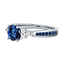 US Size 7-10 Blue Sapphire 925 Silver Plated Jewelry Wedding Engagement Ring NEW