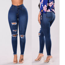 Vintage Women's Denim Skinny Pants Ripped Hole Elastic Jeans Pencil Trousers