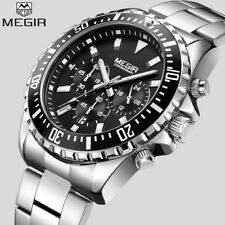 MEGIR Top Luxury Brand Watch Men Analog Chronograph Quartz Wrist Watch Full