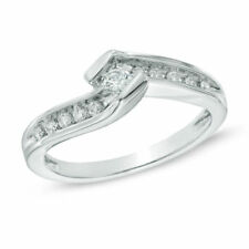 .25CT Diamond Engagement Promise Ring .10CT Center Stone 10K SOLID  White Gold