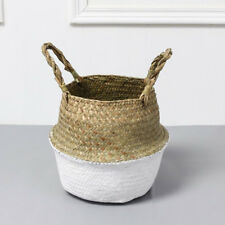 Natural Woven Seagrass Belly Basket for Storage Laundry Plant Flower Pot