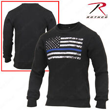 Rothco Thin Blue Line Flag Sweatshirt - Mens Black Crew Neck TBL Pullover