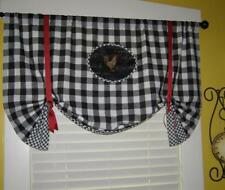 Farmhouse French Country Rooster Black Buffalo Gingham Check Balloon VALANCE NEW