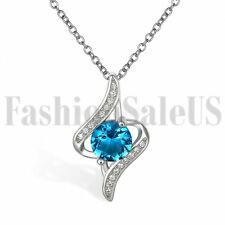 Women Ladies 925 Silver Round Blue White Cubic Zirconia Pendant Necklace Chain