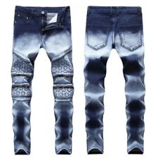Men's Skinny Slim Pants Casual Two-Color Denim Straight Trousers Stretch Jeans