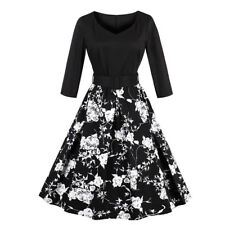 Women's 1950s Retro Vintage Floral 3/4 Sleeve Party Cocktail Swing Dress