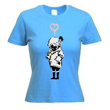 BANKSY THINK TANK WOMEN'S T-SHIRT - Urban Art Blur - Choice of Colours, S to XL