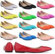 Women Ladies Flats Multi-Color Slip On Casual Shallow Point-Toe Court Shoes Size