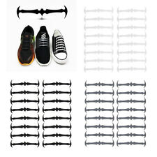 16pcs Easy No Tie Shoelaces Elastic Silicone Bat Run Shoe Laces Jogging Lazy