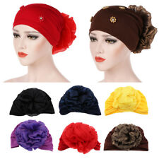 Lady Muslim Head Wrap Ruffle Flower Cancer Chemo Hat Beanie Scarf Turban Cap