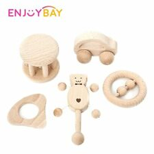 Baby Wood Rattle Toy Montessori Intellectual Developmental Educational Handbell
