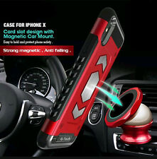 For iPhone 6/7/8 Plus XS Max Shockproof Card Slot Magnetic Heavy Duty Case Cover