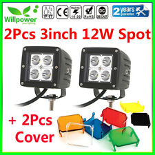 2X 3inch 12W Cube Spot LED Work Light for Offroad Jeep SUV ATV Car Truck + Cover