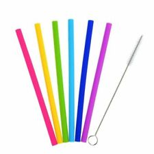 Reusable Silicone Drinking Straws With Cleaning Brush 6Pcs